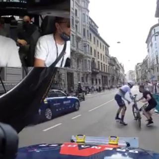 Ecco il video della foratura di Ganna nella vittoriosa crono di Milano
